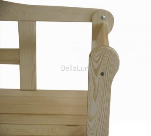 Dodatkowe Stylowa ławka drewniana z oparciem - naturalna sosna - marka BellaLuni BM78