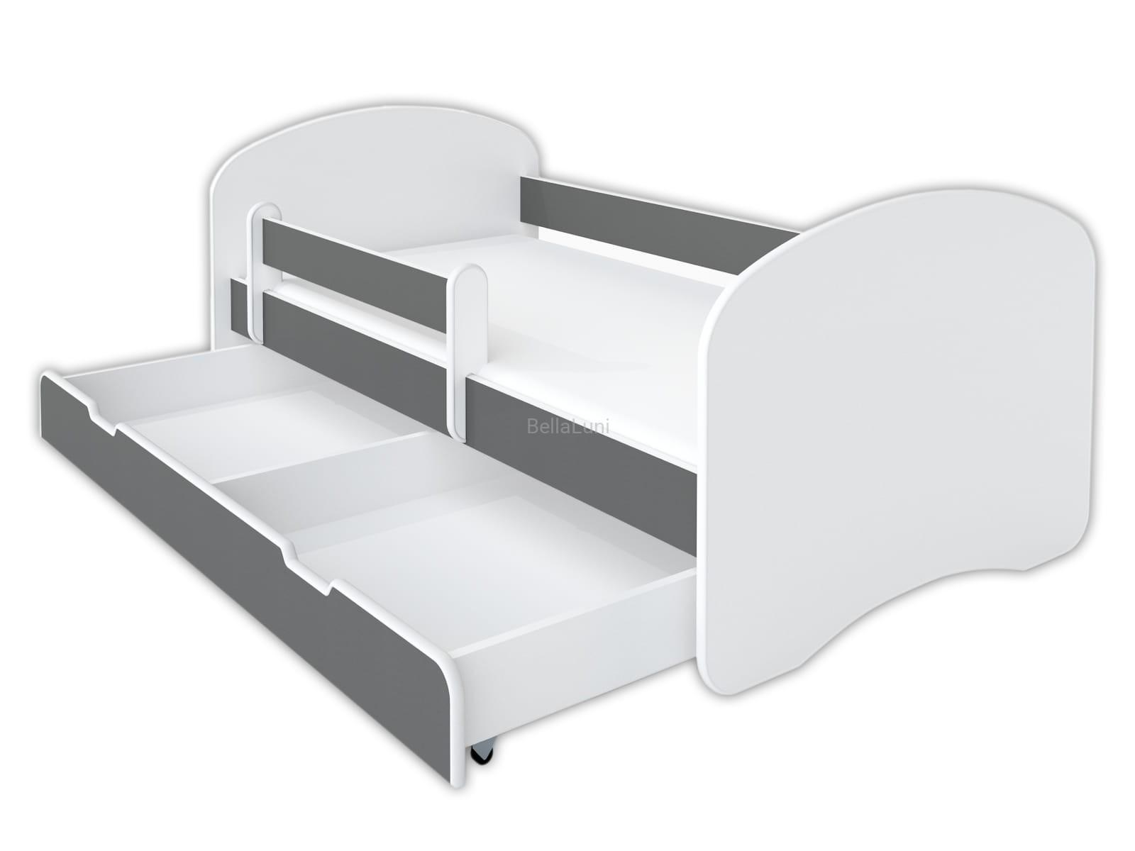 Szare łóżko Dla Dzieci Z Szufladą I Materacem Bellaluni