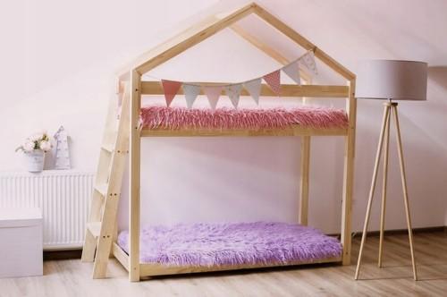 łóżko Piętrowe Domek X2b Drewniane 70x140 Cm