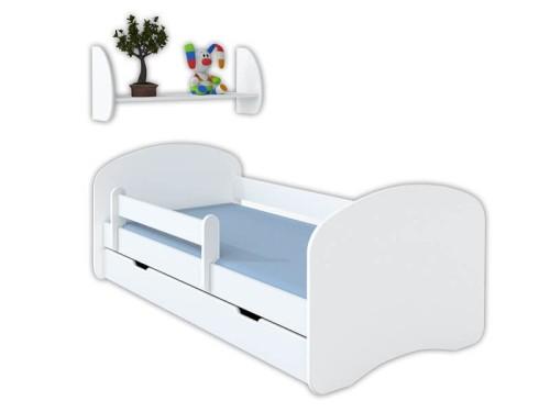 Zestaw łóżko 160x80 Z Materacem I Półka Wisząca Białe