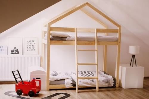 łóżko Piętrowe Domek X2 Drewniane 80x160
